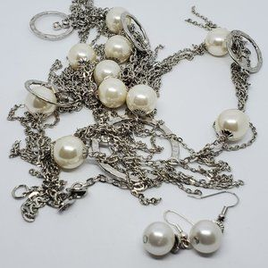 Set of Silver Tone Pearls Co & Co Necklace Earring